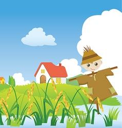 cartoons village scarecrow vector image