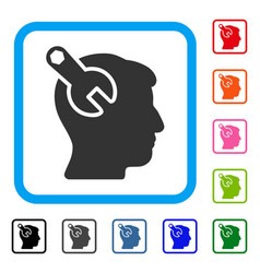 head neurology wrench framed icon vector image vector image
