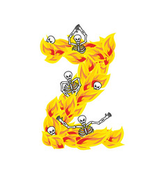 Letter z hellish flames and sinners font fiery vector