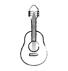monochrome blurred silhouette of acoustic guitar vector image