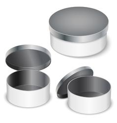 open round metal box vector image vector image