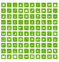 100 war crimes icons set grunge green vector