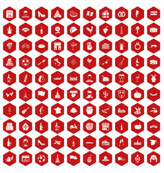 100 wine icons hexagon red vector image