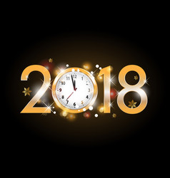 2018 new year golden letters with clock on black vector image