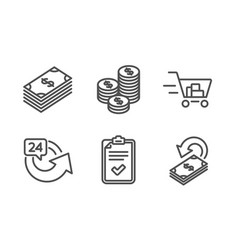 24 hours shopping cart and coins icons set vector