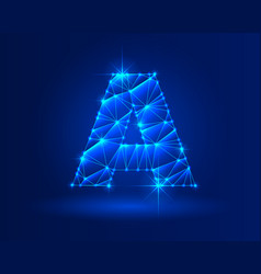 Abstract glowing letter a on dark blue background vector
