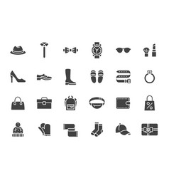 accessory fashion silhouette icons vector image