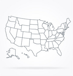 Accurate correct usa map linework vector