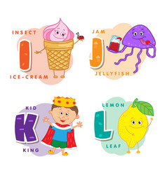 alphabet children colored letter i j k l vector image