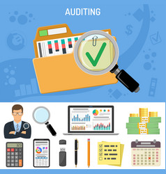 Auditing business accounting concept vector