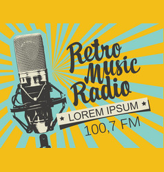 banner for retro music radio with microphone vector image