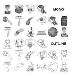 Basketball and attributes monochrom icons in set vector