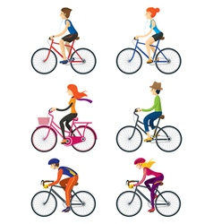 Bicycle Riders Man Woman People vector