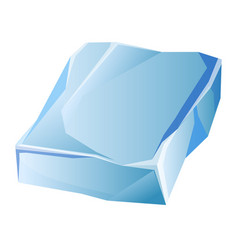 Blue transparent uneven ice glacier piece isolated vector