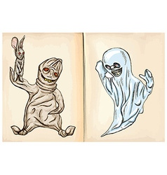 Boogey and ghost - hand drawings vector