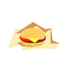 burger fast food served in paper bistro meal vector image