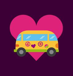Bus hippie scenery cartoon vector