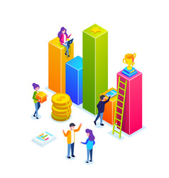 business infographic or growth chart small people vector image
