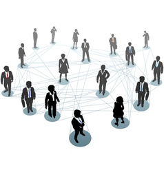 Business people network connection nodes vector image