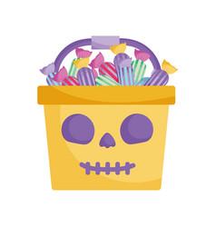 candies bucket pumpkin icon trick or treat happy vector image