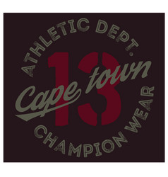 cape town sport t-shirt design vector image