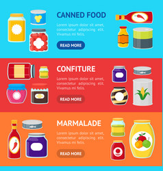 cartoon canned and jar food banner horizontal set vector image