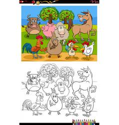 cartoon farm animals group coloring book page vector image