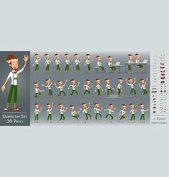 cartoon flat christmas elf boy character vector image