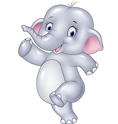 Cartoon funny elephant isolated vector