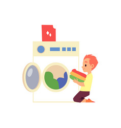 cartoon kid loading washing machine - cute boy vector image