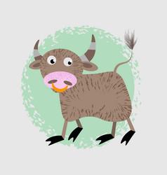 cartoon of funny bull farm animal character vector image
