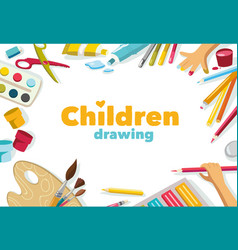 Children drawing color background banner vector