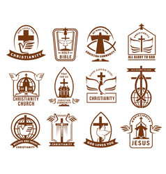 Christian community church or mission icons set vector