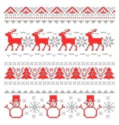 Christmas Traditional Scandinavian Pixel Borders vector image