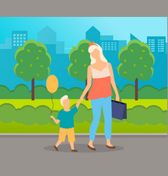 city park mom and son are walking boy carries a vector image