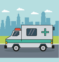 Colorful background with ambulance on the vector