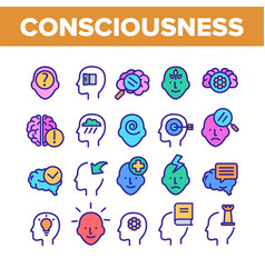 Consciousness color elements icons set vector