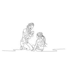 continuous one line mother and daughter siiting vector image