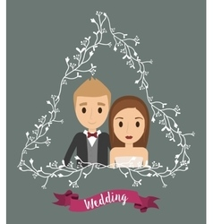Couple floral cartoon wedding icon graphic vector