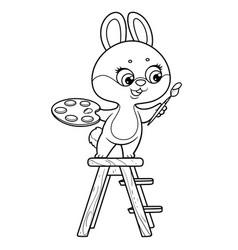 cute cartoon little rabbit stands on ladder vector image