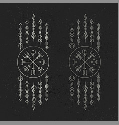Dark runic symbols dreamer set vector