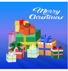 decorated colorful gift boxes happy new year merry vector image