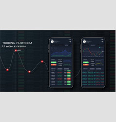 Different ui ux gui screens binary option app vector