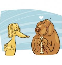 Dog in love vector