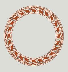 Elephants circle ornament-02 vector