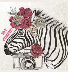 Fashion background with cute zebra trendy vector