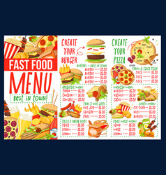 Fast food menu with burger and pizza ingredients vector