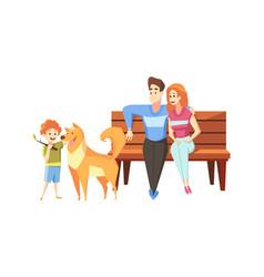 Fatherhood motehrhood childhood rest concept vector