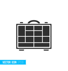 Fishing tackle box icon in silhouette flat style vector