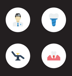Flat icons furniture gingivitis orthodontist and vector
